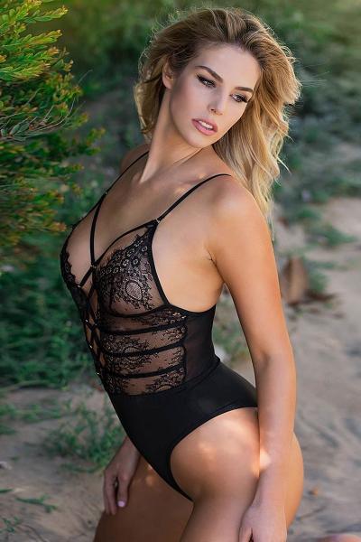 Body string noir dentelle