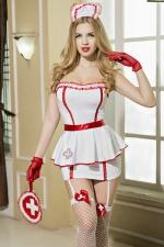 Déguisement sexy infirmière 8 pièces : Guêpière et porte-jarretelles de rigueur pour cette tenue d'infirmière ultra sexy qui affolera les sens de tous ses patients.