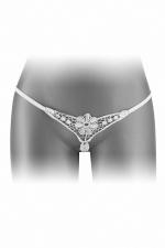 String ouvert Danuta - blanc : String blanc très coquin, ouvert entre les jambes, pour faire monter le désir dès le premier regard, par Fashion Secret.