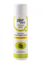 Lubrifiant Pjur Med Vegan glide 100ml   : Lubrifiant haute qualité à base d'eau et 100% Vegan, pour une lubrification douce et longue durée.