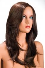 Perruque Olivia châtain : Perruque châtain aux cheveux longs ayants un aspect naturel. Elle tombe à merveille sur les épaules.