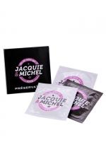 Pochette de 3 préservatifs Jacquie et Michel : Boite de 3 préservatifs naturels Jacquie & Michel, pour se faire plaisir sans risque.